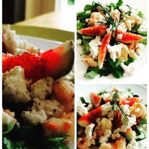 salade met kreeftjes en vijgen